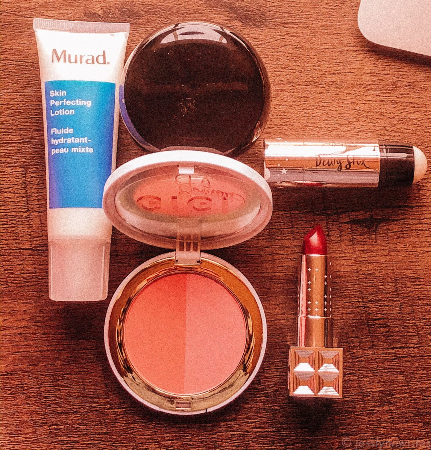 beauty products on a desk