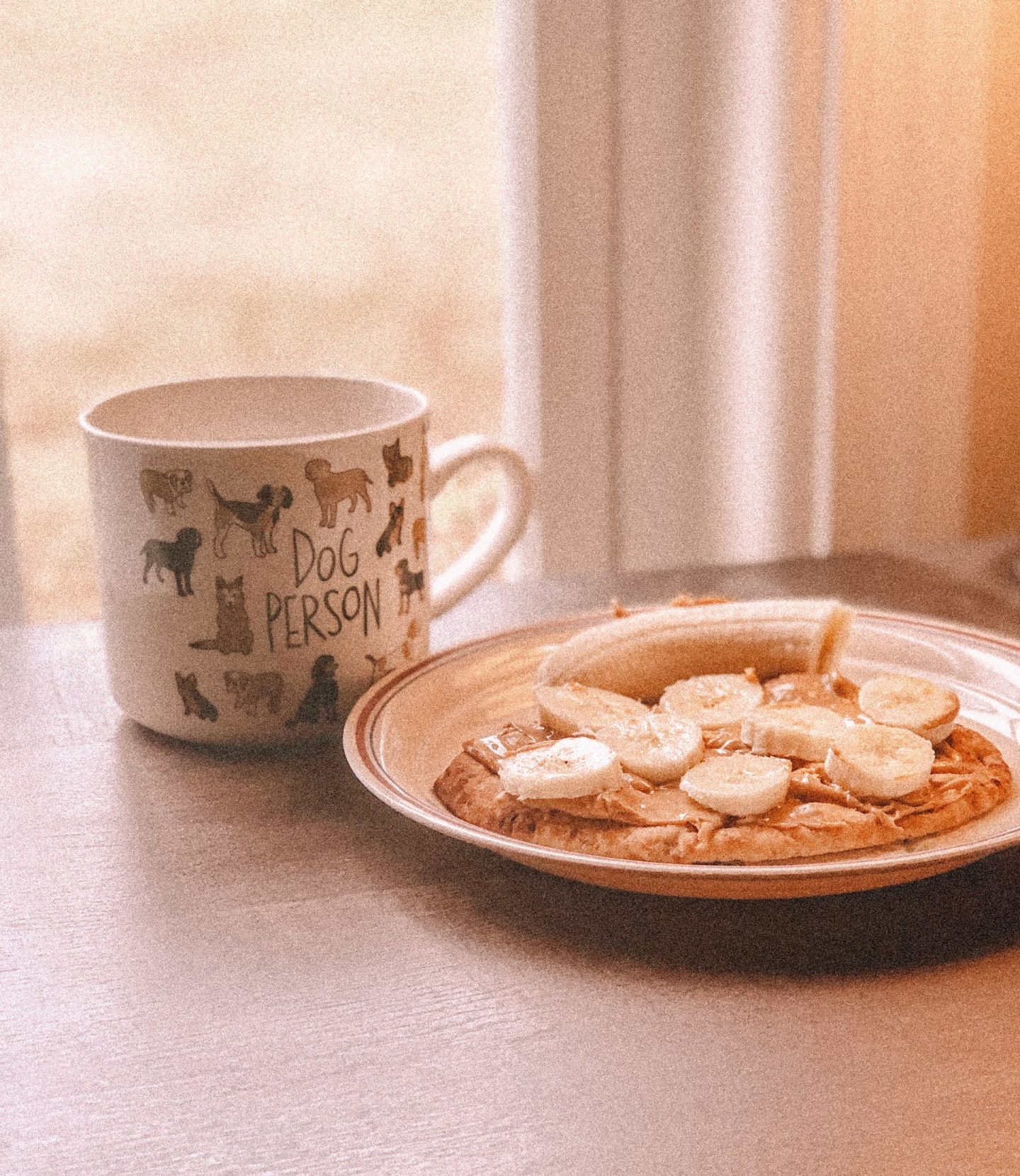 cup of coffee and naan bread on plate